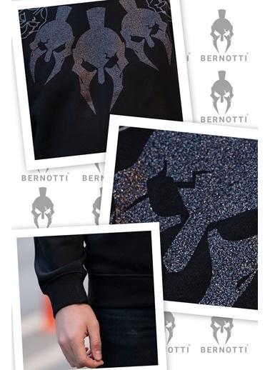 Bernotti 79 Siyah Baskı Detaylı Sıfır Yaka Erkek Sweatshirt Siyah